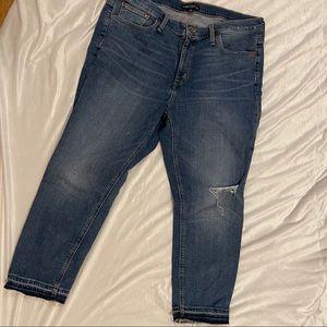 JCrew Distressed Hem Knee Classic Skinny Jean 14